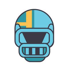 american football helmet flat line vector image