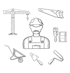 Builder and construction industry sketched icons vector image vector image