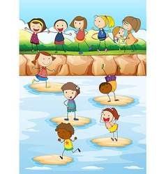 Children playing on the cliff vector image vector image