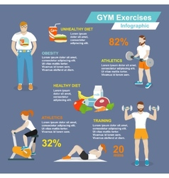 Gym sport exercises infographic vector image