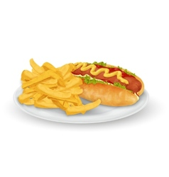 Hot dog french fries vector image vector image