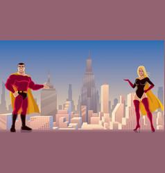superhero couple presenting vector image