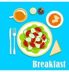 Vegetarian breakfast with salads and tea vector image vector image