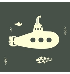 Yellow Submarine with periscope vector image vector image