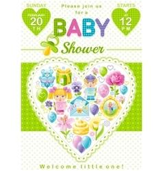 Baby shower invitation design in unisex green vector image vector image