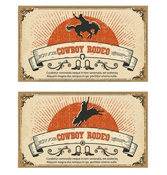 Cowboy wild horse rodeo cards isolated on white vector image vector image