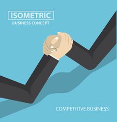 isometric businessman hands doing arm wrestling vector image vector image