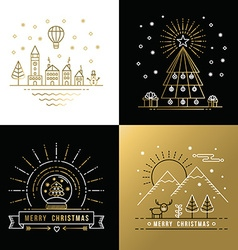 Merry christmas outline gold set label city xmas vector image