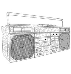 tape deck or tape machine antistress coloring vector image