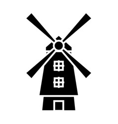 windmill - holland icon vector image