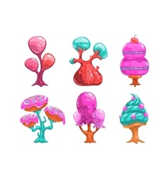 Cartoon sweet candy trees vector image