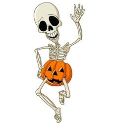 happy skeleton vector image vector image