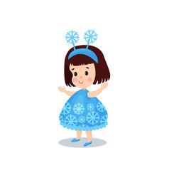 sweet brunette little girl in the costume of vector image vector image