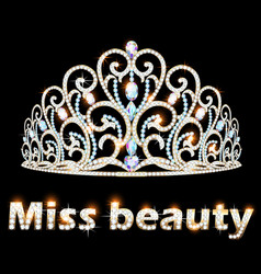 A jeweler brilliant crown miss beauty vector
