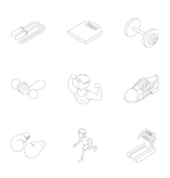 Active sports icons set outline style vector