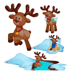 adventure set christmas deer isolated on white vector image