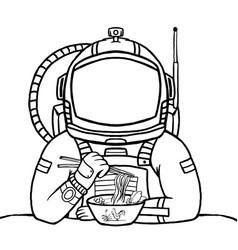 an astronaut eating chicken noodles astronaut vector image