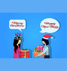 Asian women wearing hat deer horns giving present vector