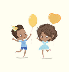 Baby birthday party balloon dance poster african vector