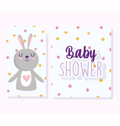 bashower cute little bunny cartoon dotted vector image