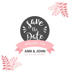 Beautiful wedding invitation with leaves vector