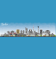 Berlin germany skyline with gray buildings and vector