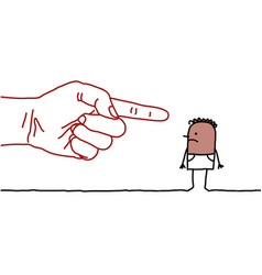 big hand with cartoon character - pointing finger vector image