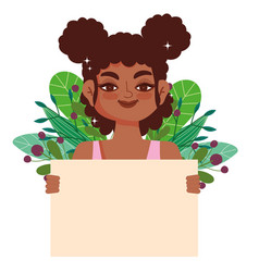 black girl curly hair afro female cartoon vector image