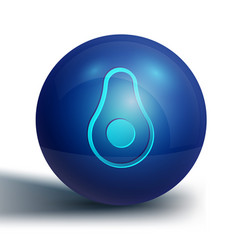 Blue avocado fruit icon isolated on white vector