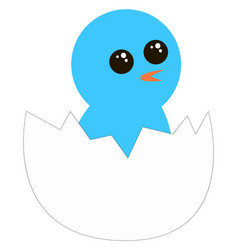 blue bird hatching from egg on white background vector image