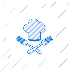 Blue line chef hat and crossed fork icon isolated vector
