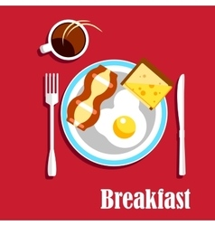 Breakfast coffee egg bacon and sandwich vector image