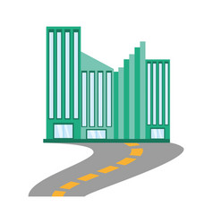 Building facade road icon vector