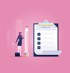 businesswoman holding a pencil near completed vector image
