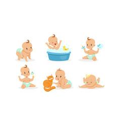 Cartoon babies in diapers on vector