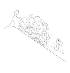 Cartoon man creating avalanche rocks vector