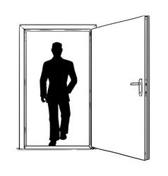 Cartoon of open modern door and businessman vector