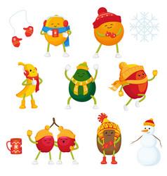Cartoon winter fruit characters symbols set vector