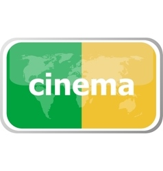 Cinema word on web button icon isolated on vector