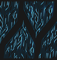 Circuit board with lights on the blue background vector