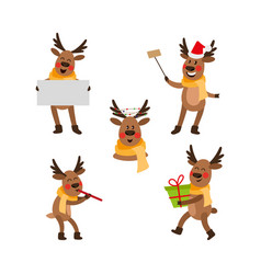 Cute cartoon christmas reindeer character party vector