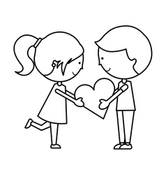 Cute little couple characters vector