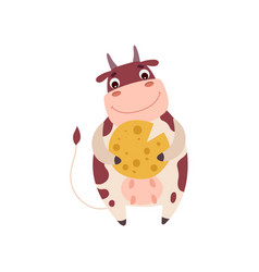 cute smiling cow holding cheese wheel funny farm vector image
