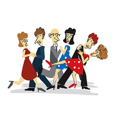 Dancing couples cartoon vector image