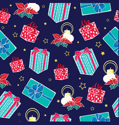 dark blue christmas gifts boxes and candles vector image