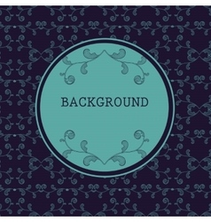 Dark round frame with floral background vector image