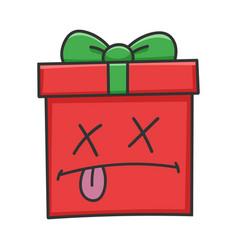 Dead present christmas gift box cartoon vector