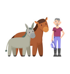 donkey horse farmer with hat vector image