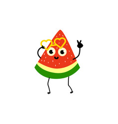 Doodle watermelon character in glasses at party vector