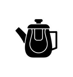 Double glass teapot black glyph icon vector